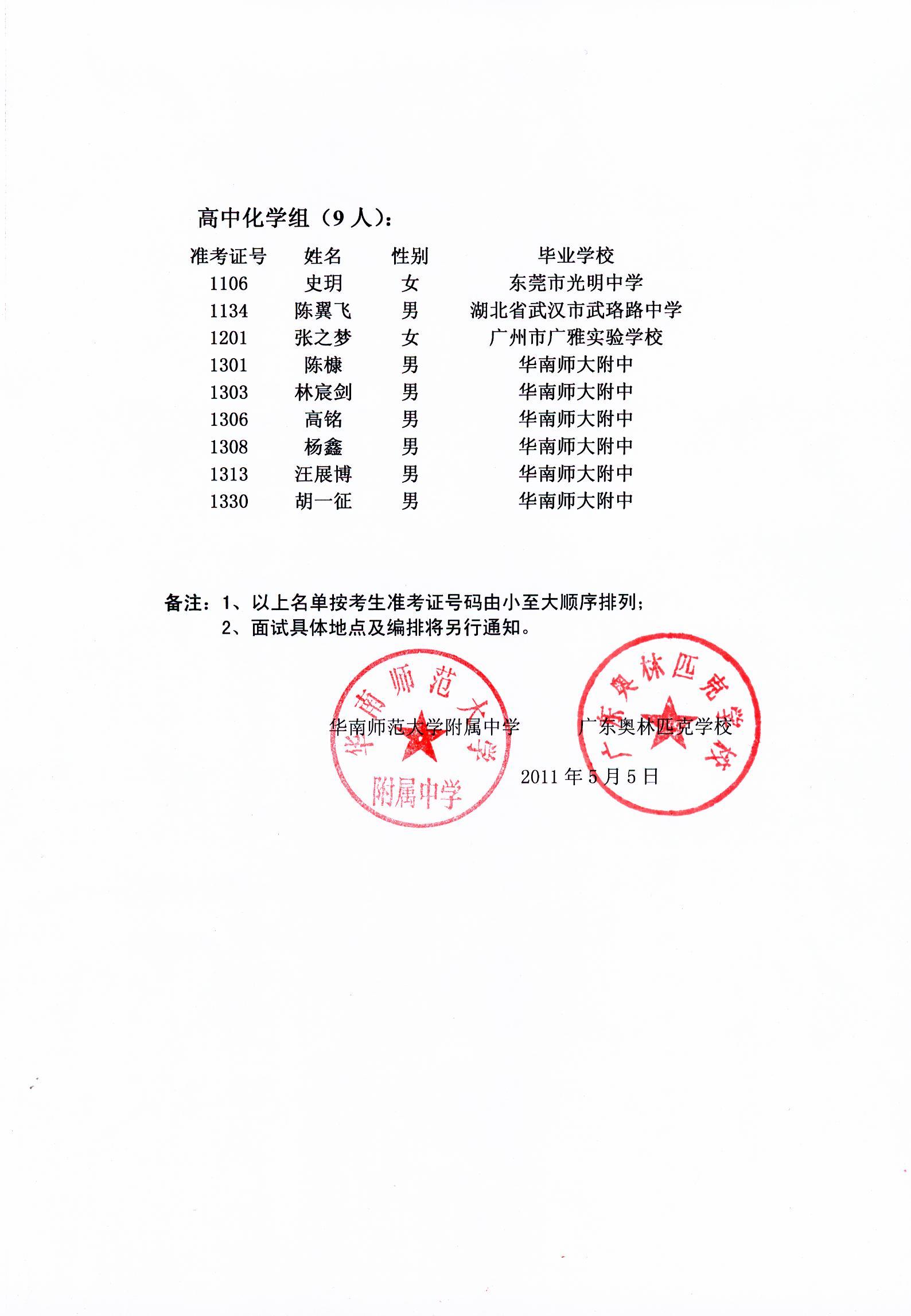 469、2011年广东奥林匹克学校高中招生考试入围面试学生名单公布 - 数学李老师 - 华师附中数学教育工作室